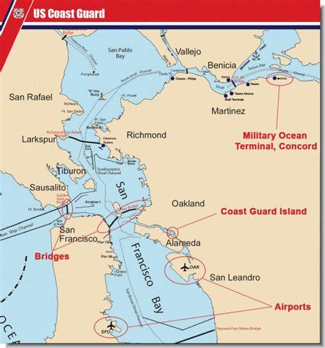 san francisco bay us map california marine security zones in the san francisco bay area