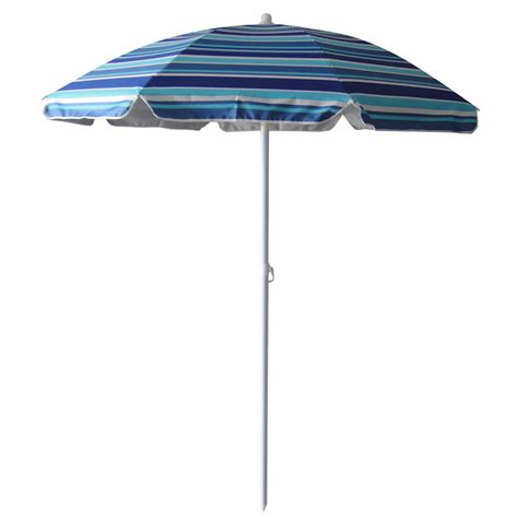 Patio Umbrellas At Lowes Shop Garden Treasures Multicolor Blue Umbrella With Tilt And Crank Common 5 83 Ft X 5 83