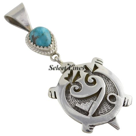 sterling silver turquoise turtle necklace pendant navajo