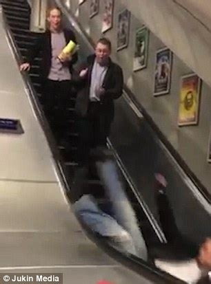 drunk reveller suffers epic fall when he tries to slide