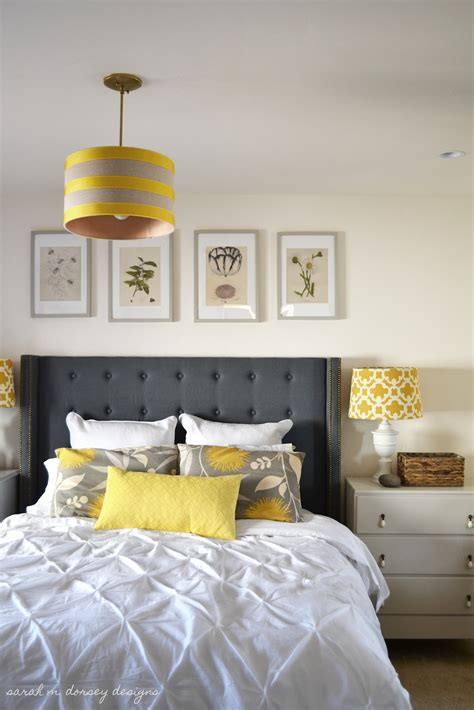 yellow gray and white bedroom sarah m dorsey designs art for above the headboard take 1