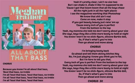 Printable Lyrics All About That Bass   all about that bass meghan trainor love the lyrics to
