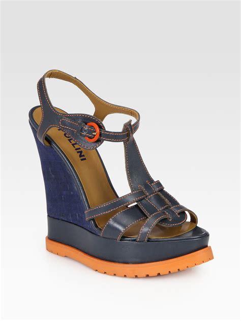orange cork wedge sandals pollini leather cork wedge sandals in blue blue orange