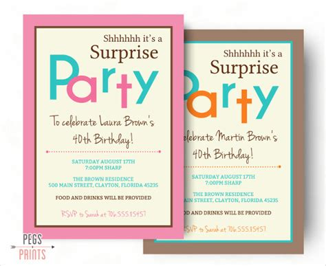 invitation template for surprise birthday party