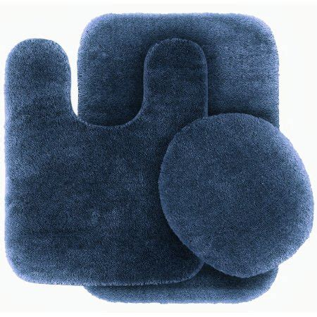 Navy Blue Bathroom Rug Set 3 Pc Navy Blue Bathroom Set Bath Mat Rug Contour And Toilet Lid Cover With Rubber Backing 6