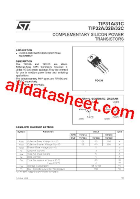 fungsi transistor tip 32 tip32c datasheet pdf stmicroelectronics