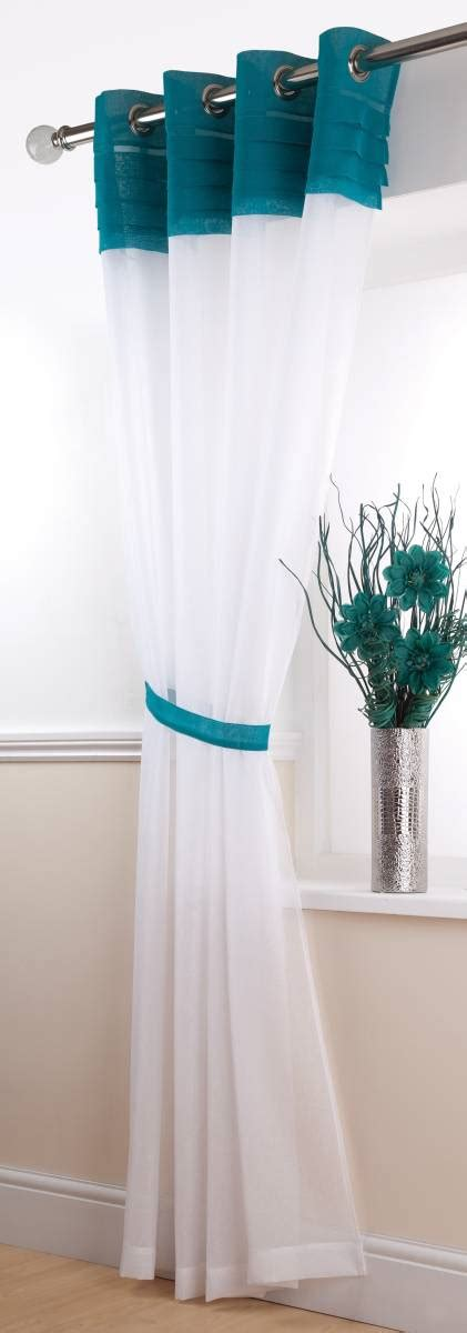 white and teal curtains siena white teal voile eyelet top net curtain 2 curtains