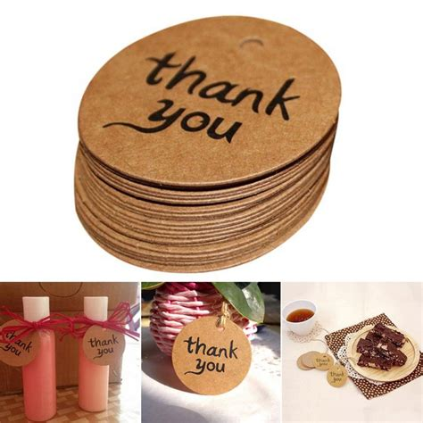Paper Tags Sticker Thank You 100pcs lot paper tags thank you made gift tags kraft label sticker diameter for
