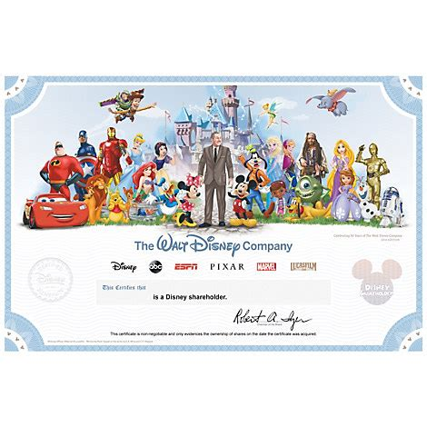 printable disney gift certificates the walt disney company collectible shareholder