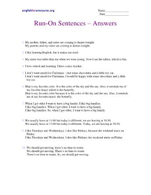Run On Sentence Worksheet Answers by Subject Verb Agreement Worksheets Forms And Templates