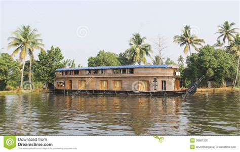 wooden boat house wooden house boats in kerala back waters stock photo