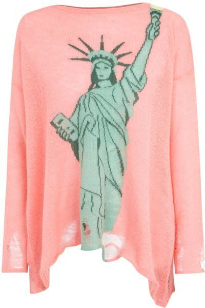 pink sweater lady liberty mutual wildfox lennon statue of liberty open knit jumper in pink