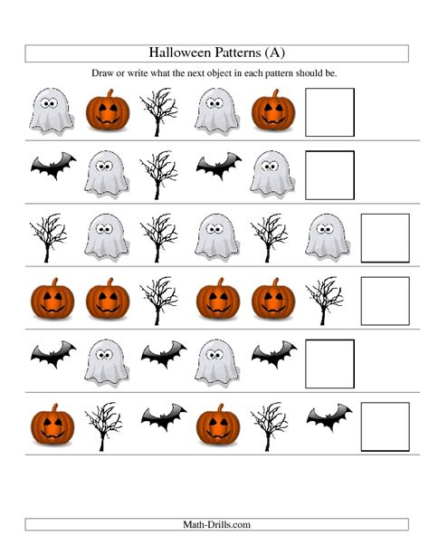 halloween pattern worksheets for kindergarten halloween math worksheet picture patterns one