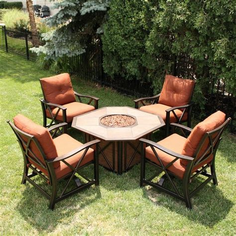Firepit Patio Set Blogs Create Another Outdoor Room With Patio Furniture Surrounding A Gas Pit Ideas