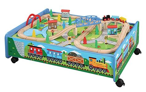 brio train table top 62 piece wooden train set with train table trundle