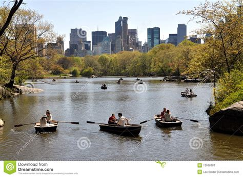 boating on central park nyc central park boating lake editorial photography