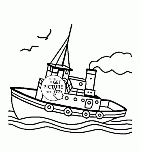 boat drawing with colour tug boat coloring pages free printable tug best free