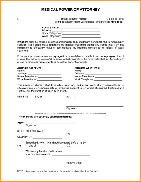 10 medical power of attorney form texas week notice letter