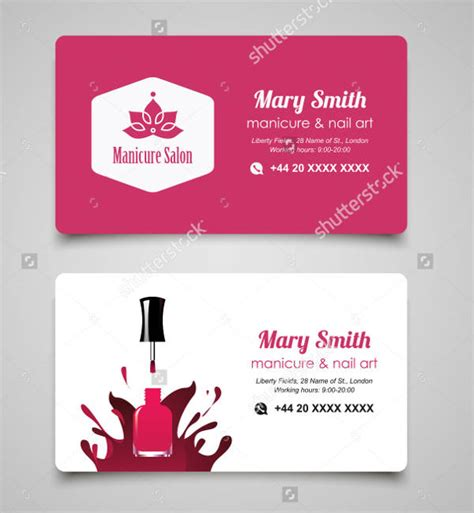 manicure business cards templates nail salon business card 14 free psd vector ai eps