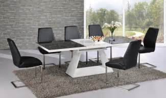 Black And White Dining Table Cover Black Glass White High Gloss Extending Dining Table With 8