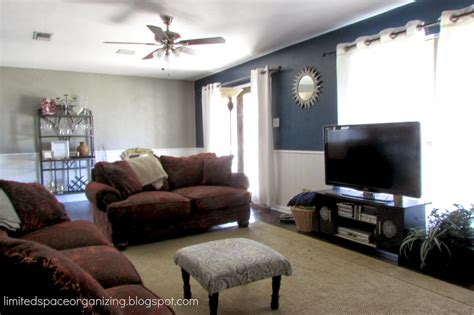 accent wall in living room limited space organizing living room update navy blue