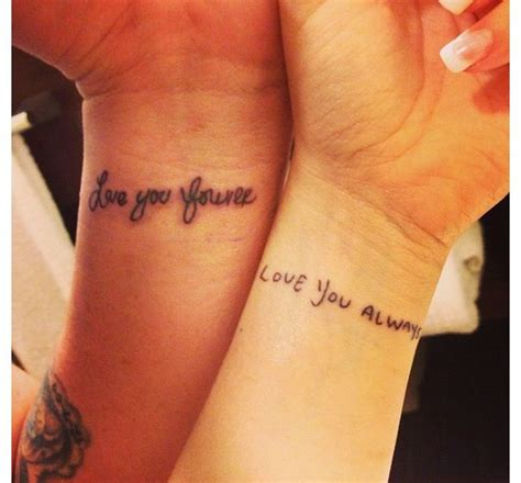 his and hers wrist tattoos his and hers my writing on me and his on mine