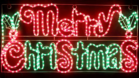 vickysuncom animated cm led merry christmas sign  holly leaves motif rope lights