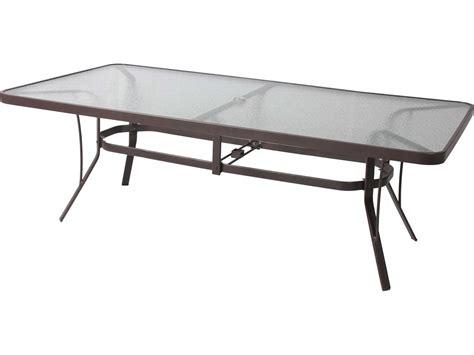 Cast Aluminum Dining Table Suncoast Cast Aluminum 84 X 42 Oval Glass Top Dining Table With Umbrella 4284kd