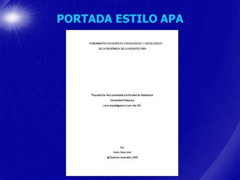 ejemplo de para una portada estilo apa formato para trabajos escritos estilo apa en espa 209 ol ppt