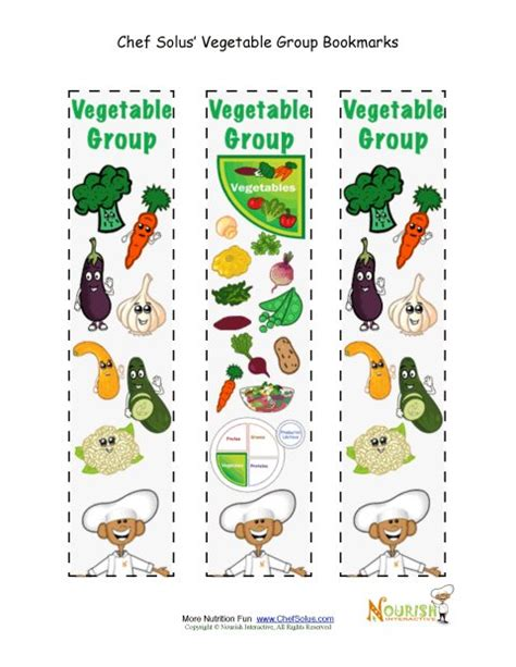 Free Printable Nutrition Bookmarks | bookmark food group vegetables chef solus activity
