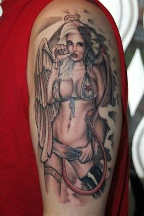 tattoo half angel half devil angels and demon sleeve tattoo design 7 pin up
