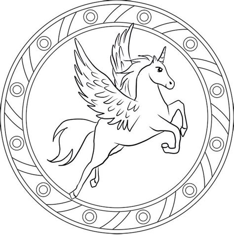 unicorn mandala coloring pages pegasus mandala ausmalbild mandalas pinterest