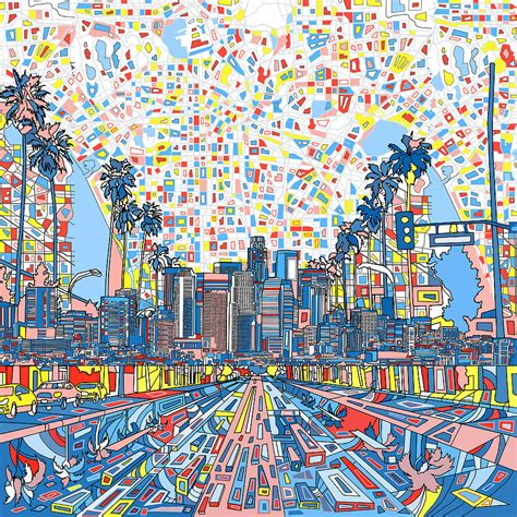 los angeles house painter los angeles skyline abstract 3 painting by bekim art