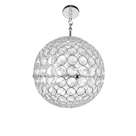 Checkolite Crystal Sphere 3 Light Chrome Crystal Hanging Sphere Chandelier With Crystals