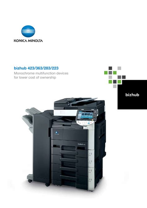 Mesin Fotocopy Konica Minolta Bizhub 283 konica minolta bizhub 283 user manual 16 pages also for bizhub 363