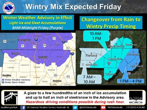 Friday In Alabama by Updated Winter Weather Advisory Issued For Alabama
