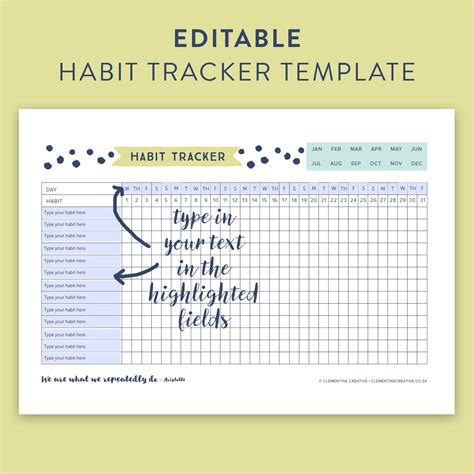 Printable Editable Habit Tracker Type In Your Text How To Make Editable Pdf Template