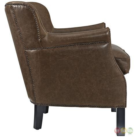 vinyl armchair key modern low back vinyl armchair w nail head trim wood legs brown