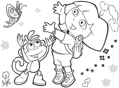 dora butterfly coloring pages dora and boots and beautiful butterfly in dora the