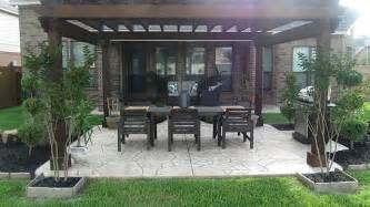 sted concrete patio with pergola gorgeous backyard with a pergola and sted concrete