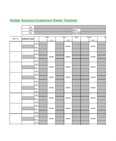timesheet template 9 free word excel pdf documents
