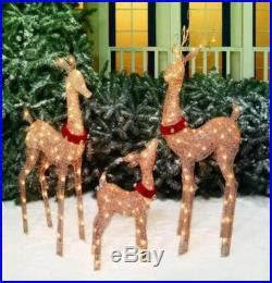 outdoor lighted deer family outdoor deer family light sculpture set glittering yard decor