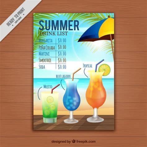 Summer Drink List Template Vector Free Download Drink List Template