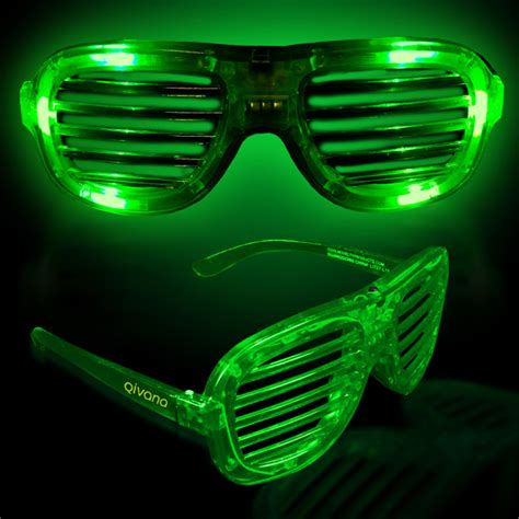 imprinted green light up glow led slotted glasses usimprints