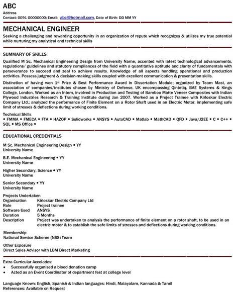 35 mechanical engineering technician resume sample resume for