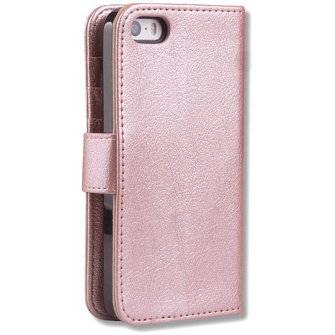 For Iphone 5 5s Se Flip Wallet Cover Soft Classic Leather Brown 4 Gold Pu Flip Wallet Cover For Iphone 5 5s Se