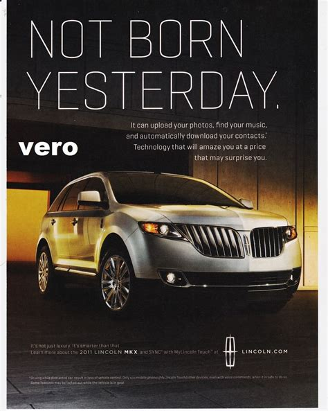 car ads 2016 lincoln mkx 2011 magazine ad print clipping car
