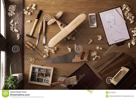 Handmade Work At Home - diy project at home wooden airplane stock image