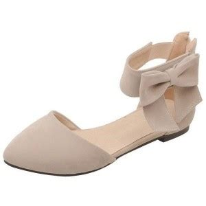 comfortable nude flats women s nude ankle strap bow pointed toe comfortable flats