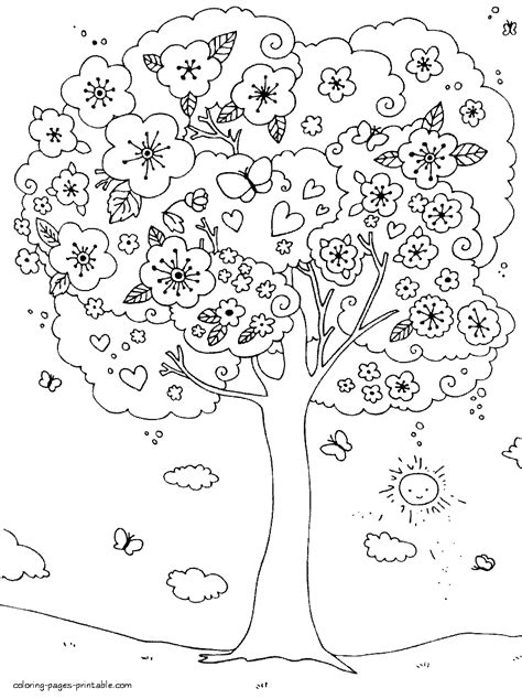 coloring pages of spring trees outdoor children activities in spring coloring page